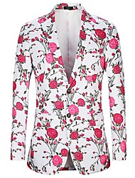 cheap -Men's Party Going out Active / Basic Suits Jacket - Floral Print Blushing Pink
