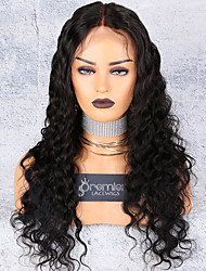 cheap -Unprocessed Virgin Hair Lace Front Wig Deep Parting style Indian Hair Wavy Natural Wig 130% Density with Baby Hair with Clip With Bleached Knots Women's Long Medium Length Very Long Human Hair Lace