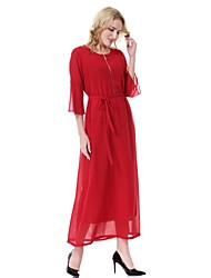cheap -Women's Party Daily Work Flare Sleeve Chiffon Swing Dress - Solid Colored Summer Black Red Gray L XL XXL