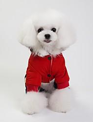 abordables -Chiens Manteaux Veste Hiver Vêtements pour Chien Chaud Rouge Bleu Gris Costume Coton simple Couleur Pleine Guêtres S M L XL XXL