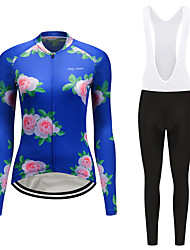 cheap -FirtySnow Women's Long Sleeve Cycling Jersey with Bib Tights White Black Floral Botanical Bike Clothing Suit Thermal / Warm Windproof Fleece Lining Winter Sports Polyester Floral Botanical Mountain