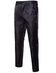 cheap -Men's Basic Daily Dress Pants Pants Solid Colored Full Length Black Purple Wine
