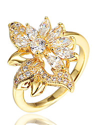 cheap -Women's Statement Ring Ring Cubic Zirconia 1pc Gold Silver 18K Gold Plated Imitation Pearl Imitation Diamond Statement Stylish Romantic Party Engagement Jewelry Classic Flower Petal