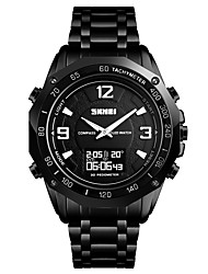 cheap -SKMEI Men's Sport Watch Wrist Watch Digital Watch Digital Stainless Steel Black / Silver 30 m Water Resistant / Waterproof Alarm Calendar / date / day Analog - Digital Luxury Fashion - Black Silver