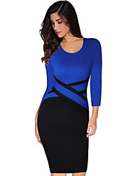 cheap -Women's Sheath Dress - Long Sleeve Color Block Elegant Party Daily High Waist Blue Khaki S M L XL XXL / Sexy