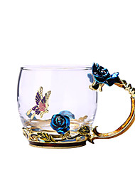 Недорогие -Голубая роза эмаль хрустальная чашка цветок чай стекло стакан воды кружка с ручкой подарок любителю свадьбы