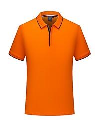 abordables -Tee-shirt Grandes Tailles Homme, Couleur Pleine Col de Chemise Gris / Manches Courtes