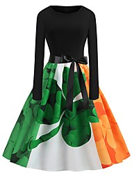 cheap -Peter Pan Dress Adults' Women's Halloween Carnival St Patricks Day Festival / Holiday Polyster Green Female Carnival Costumes Shamrock Novelty 3 Leaf