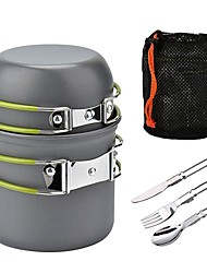 cheap -1 L Cookware Sets Multi layer Travel Aluminum Alloy for 1 - 2 person Outdoor Camping Travel Orange Green