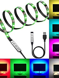 cheap -KWB 5V RGB Strip Lights 120 LEDs 5050 SMD 10mm 2M LED Strip Light 3-Key Remote Controller RGB TV Background Light