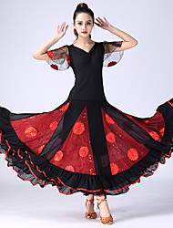 cheap -Ballroom Dance Skirts Appliques Tiered Women's Training Performance Short Sleeve Natural Spandex Polyester
