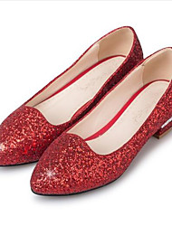 cheap -Women's PU(Polyurethane) Spring Sweet / Minimalism Wedding Shoes Low Heel Round Toe Sequin / Sparkling Glitter Gold / Silver / Red