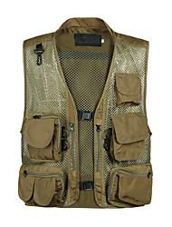 cheap -Men's Hiking Vest / Gilet Fishing Vest Outdoor Multifunctional Lightweight Breathable Quick Dry Jacket Top Mesh Single Slider Fishing Hiking Climbing Black / Army Green / Green / Rough Black / Khaki