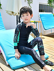 cheap -MEIYIER Boys' Rash Guard Dive Skin Suit Elastane Neoprene Diving Suit Quick Dry Long Sleeve Front Zip - Swimming Water Sports Patchwork Cartoon Summer / High Elasticity / Kid's