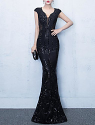 cheap -Mermaid / Trumpet Elegant Vintage Inspired Formal Evening Dress V Neck Sleeveless Floor Length Sequined with Crystals Sequin Embroidery 2020