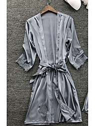 cheap -Women's Lace Sexy Robes / Satin & Silk Nightwear Solid Colored Navy Blue Gray Wine M L XL