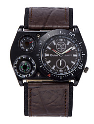 cheap -Oulm Men's Wrist Watch Quartz Oversized Leather Black / White / Brown Thermometer Compass Cool Analog Fashion - Black Coffee Green One Year Battery Life / Large Dial / Jinli 377