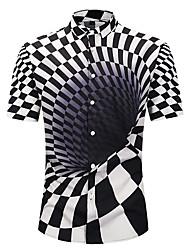 cheap -Men's Shirt - Geometric / 3D / Graphic Print Black