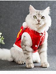 Недорогие -Коты Комбинезоны Одежда для собак Тонка шерсть С узором Вышивка Черный Красный Розовый Хлопок Костюм Назначение Осень Зима Универсальные Новый год