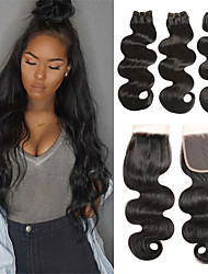 cheap -3 Bundles with Closure Brazilian Hair Body Wave Remy Human Hair Human Hair Extensions Hair Weft with Closure 8-26 inch Natural Human Hair Weaves Soft Best Quality New Arrival Human Hair Extensions