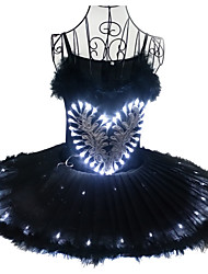 cheap -Ballet Dancer Black Swan LED Layered Dress Tutu Bubble Skirt Under Skirt Women's Girls' Kid's Tulle Cotton Costume Black / matte white / White Vintage Cosplay Christmas Party Halloween Sleeveless