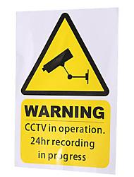 Недорогие -Желтые окна предупреждающие наклейки знаки наклейка видеонаблюдения в действии