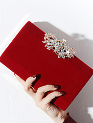 cheap -Women's Buttons / Crystals Velvet / Alloy Evening Bag Rhinestone Crystal Evening Bags Floral / Botanical Black / Red / Almond / Fall & Winter