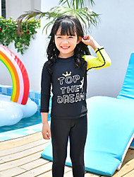 cheap -MEIYIER Girls' Rash Guard Dive Skin Suit Diving Suit Quick Dry Full Body 2-Piece Front Zip 3-Piece - Swimming Water Sports Patchwork Letter & Number Summer / Kid's