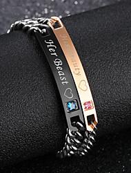 cheap -Women's Cubic Zirconia Bracelet Classic Engraved Heart Letter Korean Fashion Rhinestone Bracelet Jewelry Black / Rose Gold For Daily Office & Career