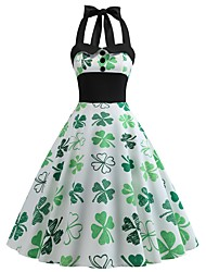 cheap -Carnival Masquerade Adults' Women's Halloween Carnival St Patricks Day Festival / Holiday Polyester White Female Carnival Costumes 4 Leaf Shamrock Novelty