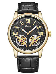 cheap -Oulm Men's Mechanical Watch Automatic self-winding Genuine Leather Black / Blue / Brown 30 m Water Resistant / Waterproof Hollow Engraving Cute Analog Casual Colorful - Black Coffee Blue One Year