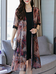 cheap -Women's Plus Size Daily Going out Sophisticated Elegant Petal Sleeves Shift Chiffon Dress - Geometric Black & Red, Lace Pleated Print V Neck Summer Red Brown M L XL XXL / Sexy