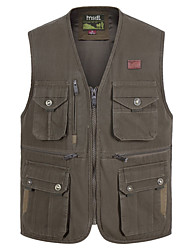 cheap -Men's Hiking Vest / Gilet Fishing Vest Winter Outdoor Lightweight Breathable Wear Resistance Multi Pocket Vest / Gilet Top Cotton Single Slider Camping / Hiking Hunting Fishing Brown / White / Army
