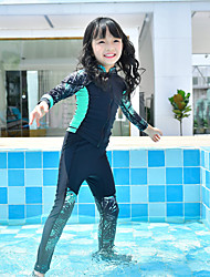cheap -MEIYIER Girls' Rash Guard Dive Skin Suit Elastane Neoprene Diving Suit Quick Dry Long Sleeve Front Zip - Swimming Water Sports Patchwork Cartoon Summer / High Elasticity / Kid's