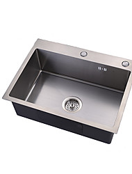 cheap -Kitchen Sink- 304 Stainless Steel Brushed Rectangular Drop In Single Bowl