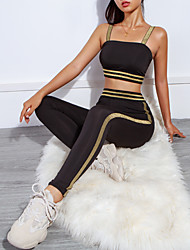 cheap -Women's High Rise Tracksuit Yoga Suit Stripes Zumba Running Gym Workout Tights Bra Top Clothing Suit Activewear Breathable Sweat-wicking Butt Lift Tummy Control Stretchy Slim