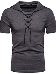 cheap -Men's T shirt Solid Colored Lace up Short Sleeve Daily Tops Basic White Black Red
