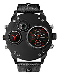cheap -Oulm Men's Wrist Watch Quartz Oversized Leather Black 30 m New Design Compass Dual Time Zones Analog Fashion Elegant - Black Red Blue One Year Battery Life / Large Dial / Jinli 377