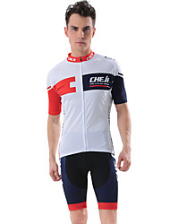 cheap -cheji® Men's Short Sleeve Cycling Jersey with Shorts Dark Blue Blue Black / Red Bike Clothing Suit Breathable Sports Lycra Solid Colored Mountain Bike MTB Road Bike Cycling Clothing Apparel