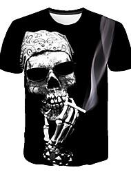 cheap -Men's Daily Club Basic / Street chic T-shirt - Skull Print Round Neck Black / Short Sleeve