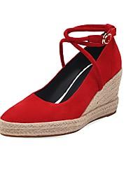 cheap -Women's Suede Spring &  Fall Chinoiserie Heels Wedge Heel Pointed Toe Rhinestone / Buckle Beige / Brown / Dark Red / Wedding / Color Block