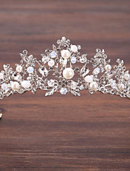 cheap -Alloy Crown Tiaras with Faux Pearl / Crystals 1 PC Wedding / Special Occasion Headpiece