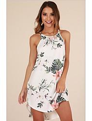 cheap -Women Holiday Beach Sheath Sundress Print Strap White Navy Blue Robe Femme Vestidos Floral Chiffon Sundresses