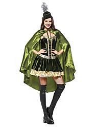 cheap -Robin Hood Peter Pan Masquerade Adults' Women's Halloween Carnival St Patricks Day Festival / Holiday Plush Fabric Satin Green Women's Female Carnival Costumes Shamrock Novelty / Dress / Cloak