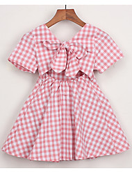 cheap -Toddler Girls' Active Daily Houndstooth Short Sleeve Above Knee Dress Blue