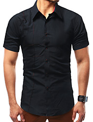 cheap -Men's Daily Cotton Slim Shirt - Solid Colored Black / Short Sleeve