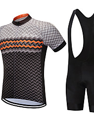 cheap -FirtySnow Men's Short Sleeve Cycling Jersey with Bib Shorts White Black Plaid / Checkered Bike Clothing Suit Breathable Moisture Wicking Quick Dry Sports Polyester Plaid / Checkered Mountain Bike MTB