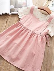 cheap -Kids Girls' Basic Daily Jacquard Short Sleeve Regular Regular Cotton Clothing Set Blushing Pink