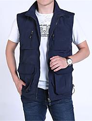 cheap -Men's Hiking Vest / Gilet Fishing Vest Outdoor Lightweight Breathable Quick Dry Wear Resistance Jacket Top Single Slider Hiking Climbing Camping Army Green / Dark Blue / Khaki / Multi Pocket