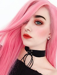 cheap -Synthetic Lace Front Wig Straight Middle Part Lace Front Wig Pink Long Pink Synthetic Hair 22-26 inch Women's Heat Resistant Women Hot Sale Pink / Glueless